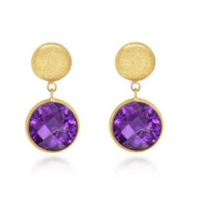 9ct Brushed Yellow Gold Amethyst Drop Earrings