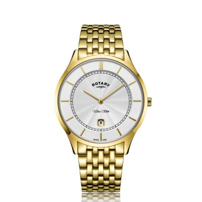Gents Rotary Ultra Slim Gold Stainless Steel Watch