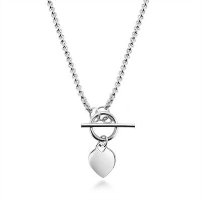 Silver heart tbar chain