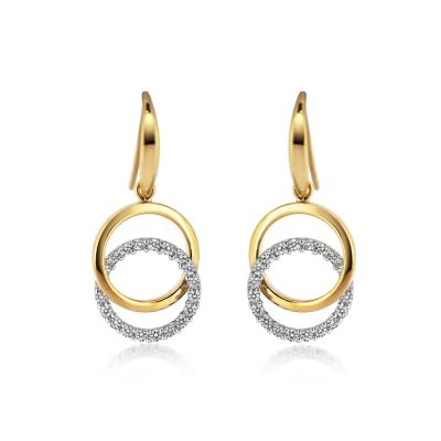 9ct White & Yellow Gold CZ Interlocking Circle Drop Earrings