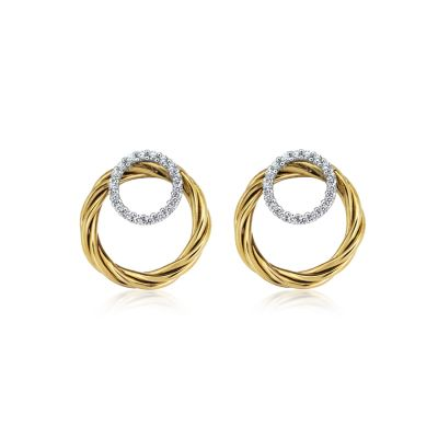 9ct Yellow Gold and White Gold Rope Twist Circle Stud Earring