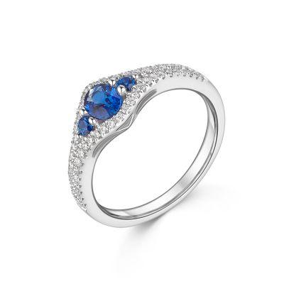 18ct White Gold Three Sapphire & Diamond Ring