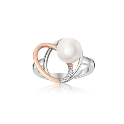 9ct White & Rose Gold Pearl Ring