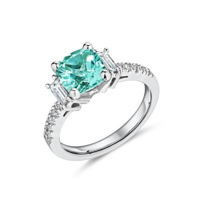 18ct white gold Madagascar Aquamarine and diamond baguette ring with diamond set shoulders