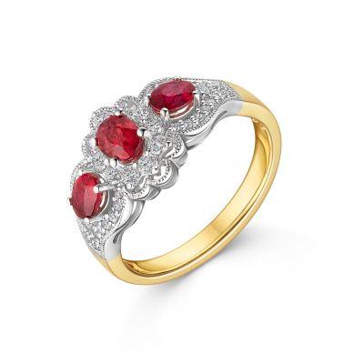 18ct Yellow Gold Ruby & Diamond Ring
