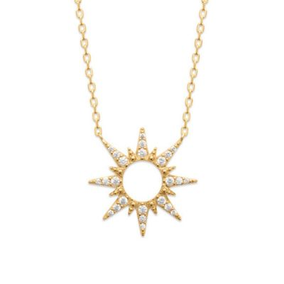 18ct yellow gold microplated cubic zirconia star pendant