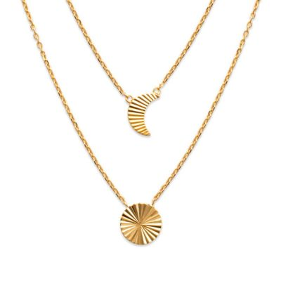 18ct yellow gold microplated grooved sun and moon pendant