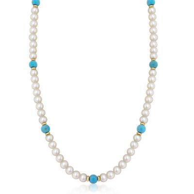 9ct Yellow Gold Freshwater Pearls & Turquoise Necklace