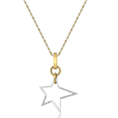 14ct White & Yellow Gold Diamond Star Pendant