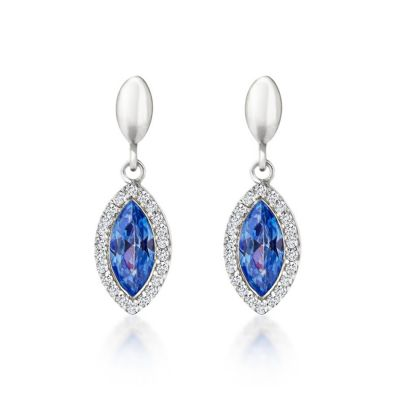 9ct White Gold Blue Topaz Drop Earrings