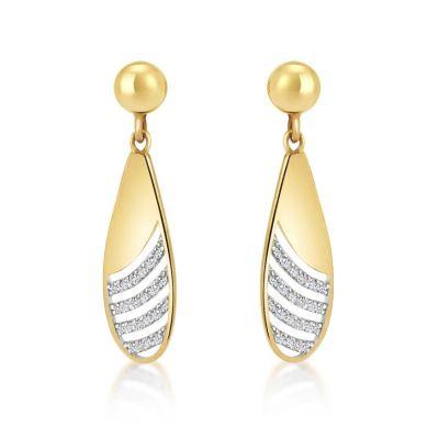 9ct Yellow Gold Cubic Zirconia Drop Earrings