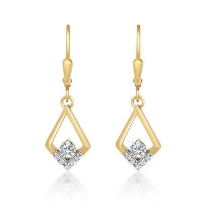 9ct Yellow Gold Cubic Zirconia Set Drop Earrings
