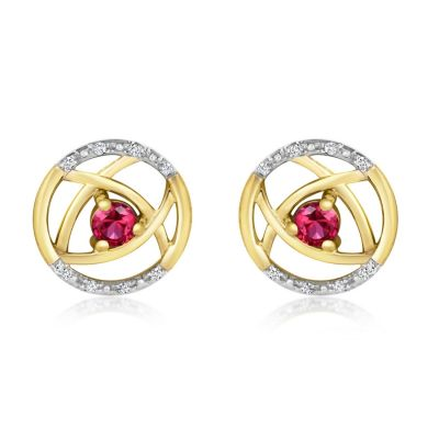 9ct Yellow Gold Diamond & Ruby Earrings
