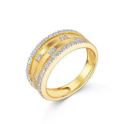 18ct White & Yellow Gold Fancy Diamond Band