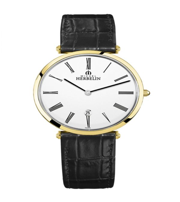 Michel Herbelin  Epsilon gents gold plated black leather strap watch