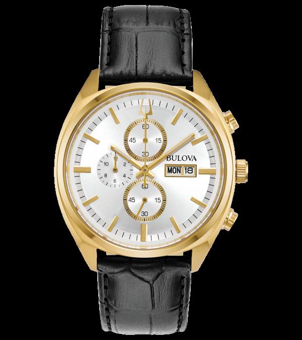 Gents Bulova Classic Surveyor chronograph leather strap watch