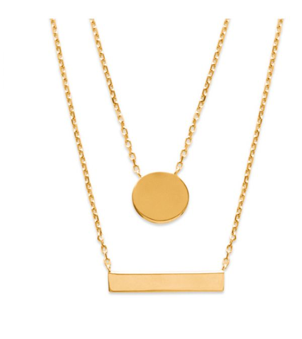 18ct yellow gold micro plated on bronze double pendant
