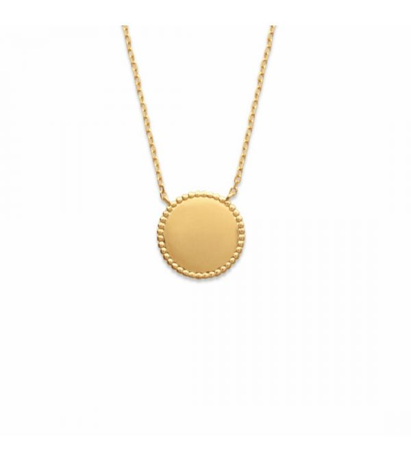 18ct yellow gold microplated disk pendant with grain detail