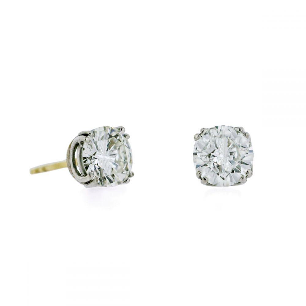 18ct White Gold 18ct Yellow Gold Post Diamond Stud Earrings