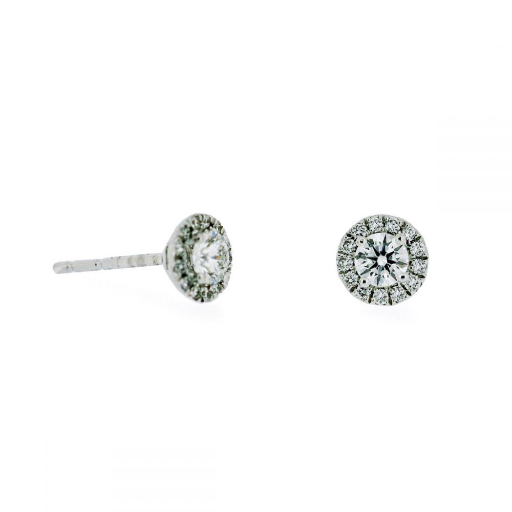 10fdd42c919ec2 18ct white gold single stone diamond earring with diamond halo surround |  Ryan Thomas Jewellers