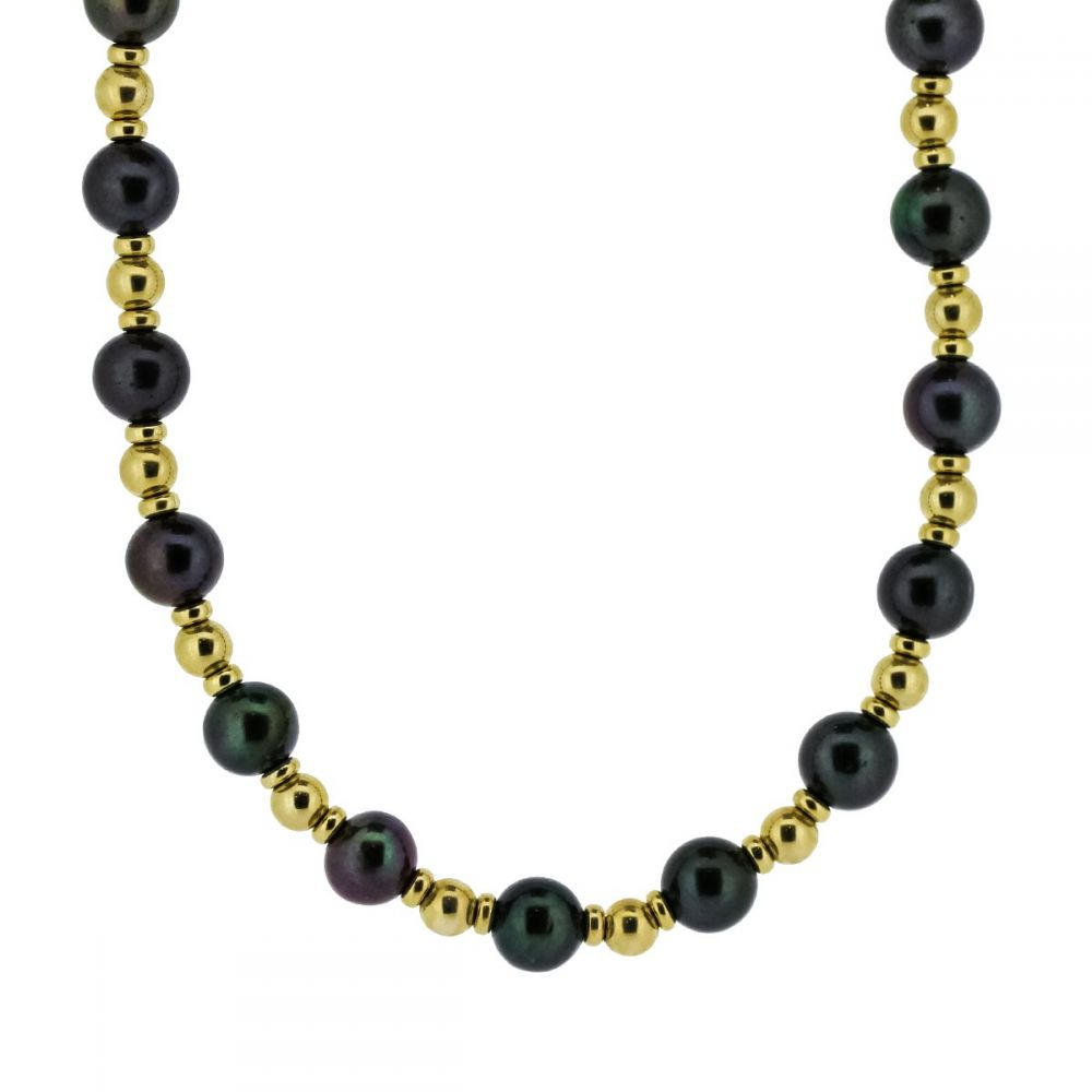 9ct Yellow Gold Bead Black Cultured Pearl Necklet