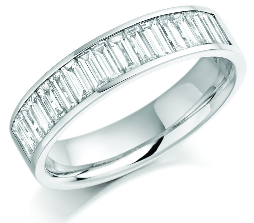 ring eternity bands thin white diamond baguette tapered band wedding product gold in