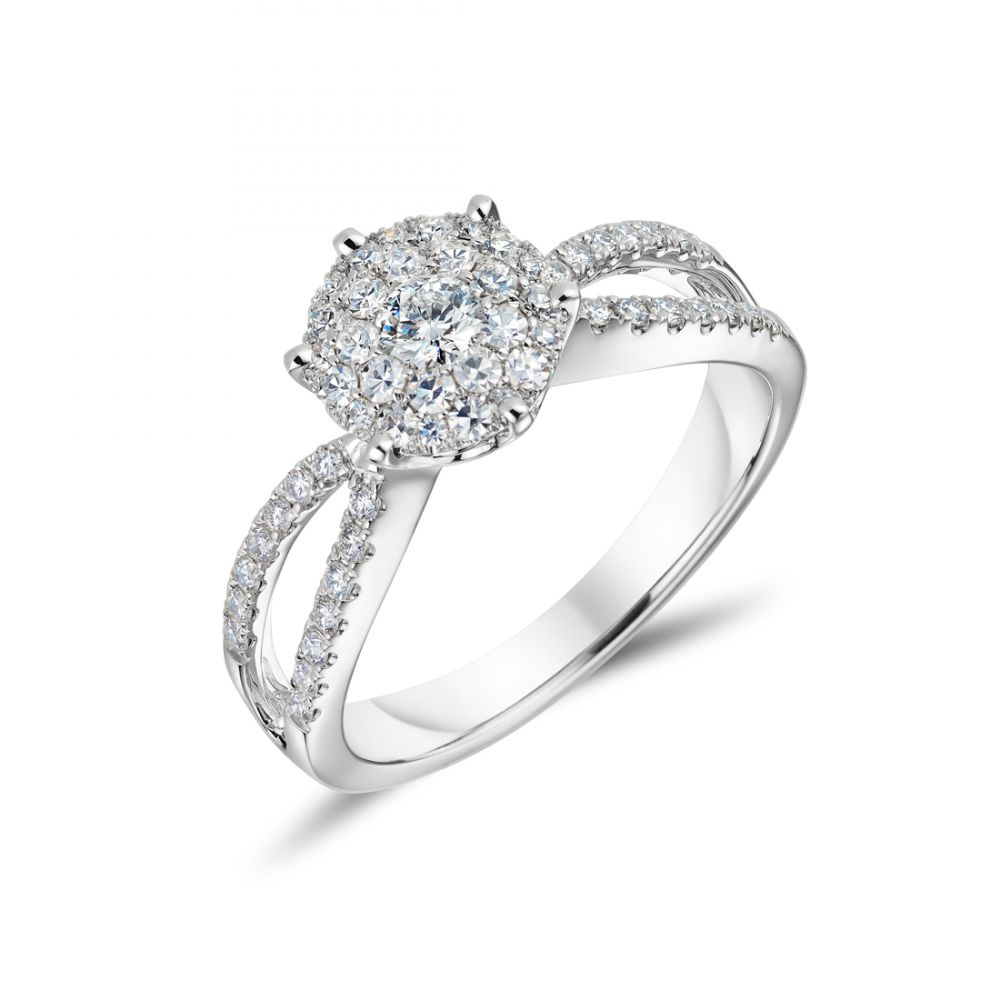 350861c4f 18ct White Gold Diamond Cluster Ring with Split Shoulders | Ryan Thomas  Jewellers