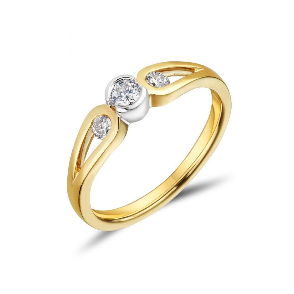 18ct Yellow Gold Bezel Set Three Stone Diamond Engagement Ring ... f77c85b90282
