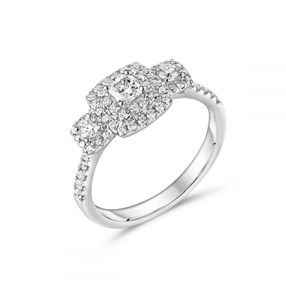 9e8115614e8ffa 18ct White Gold Princess Cut Diamond and Halo 3 Stone Ring   Ryan Thomas  Jewellers