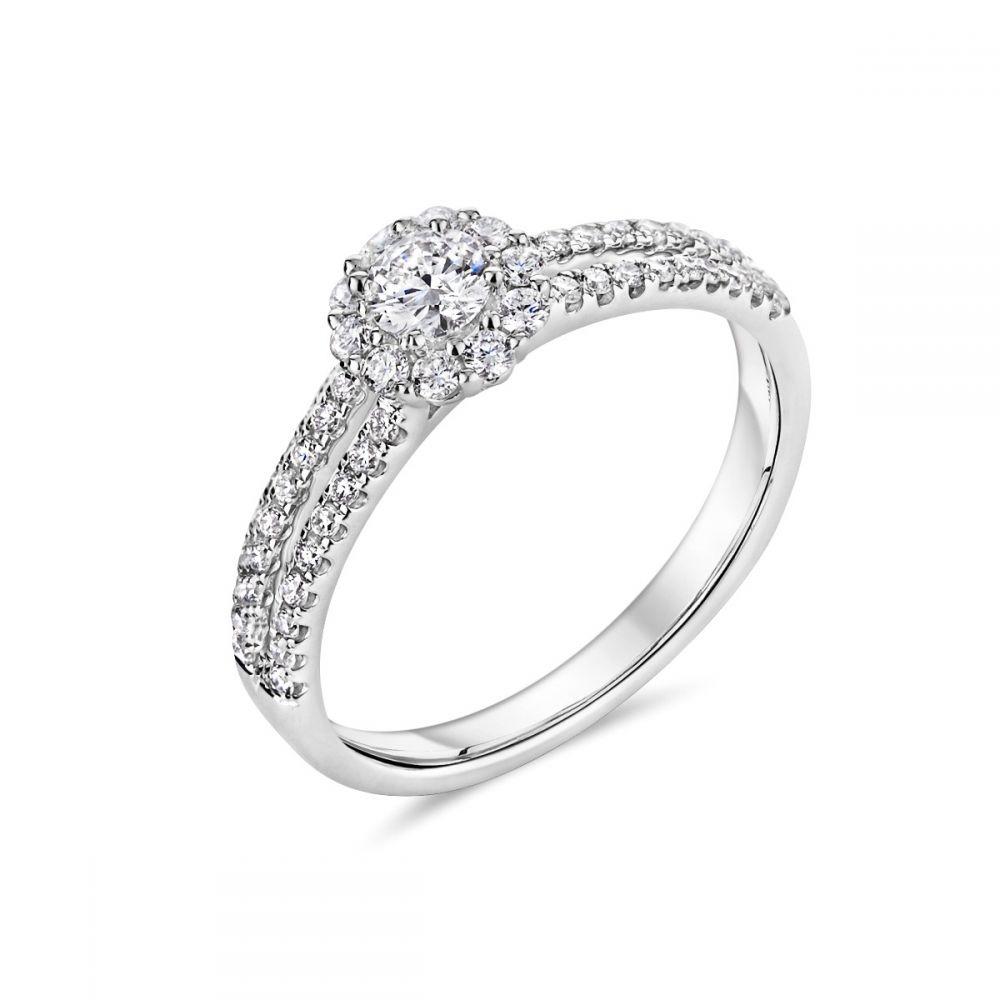 126b90682 18ct White Gold Halo and Split Diamond Shoulder Ring | Ryan Thomas Jewellers