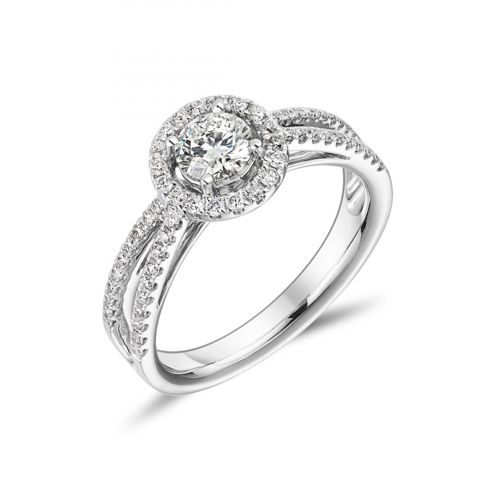 acbfc4901 RT1-019 18ct White Gold Split Shoulder and Halo Engagement Ring | Ryan  Thomas Jewellers