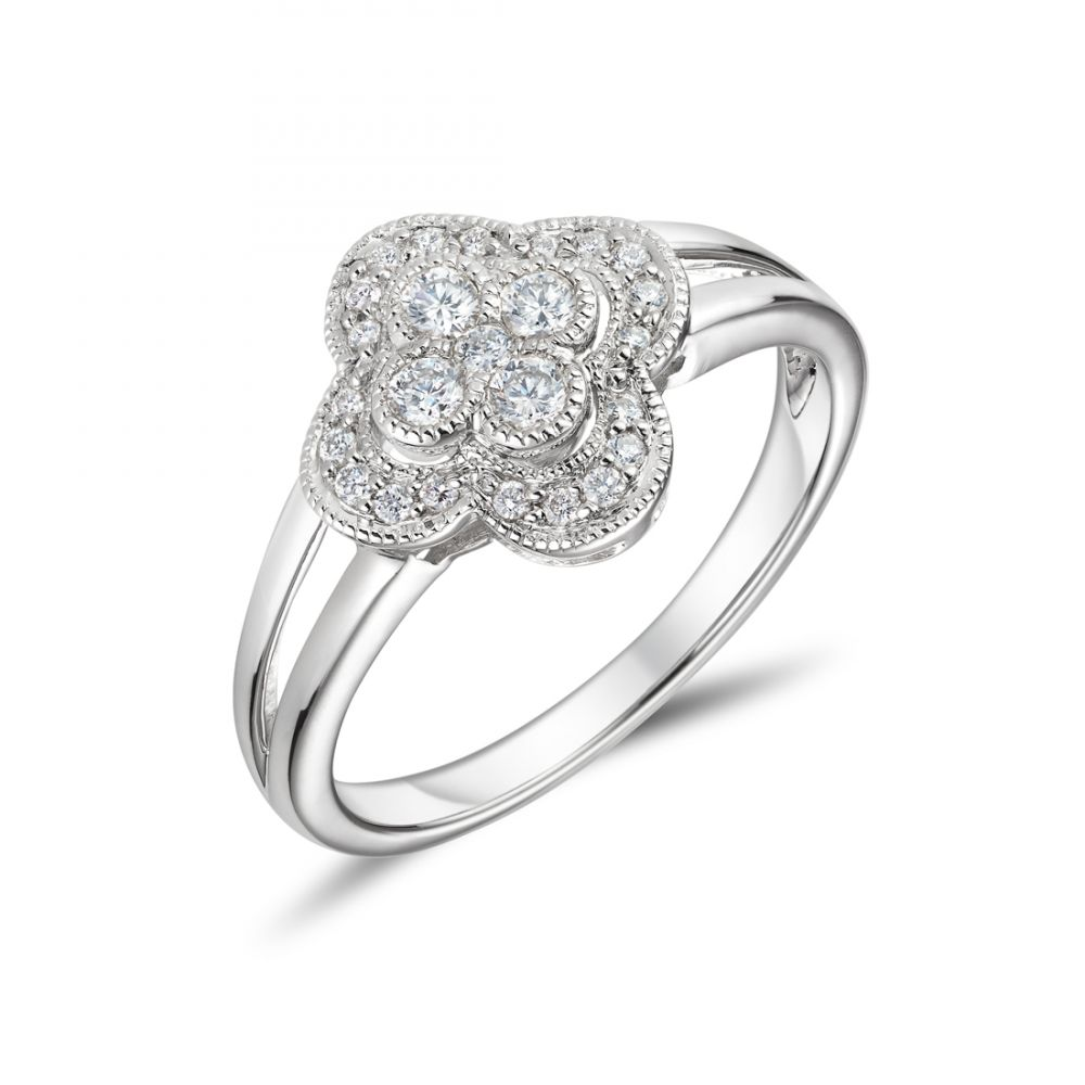 18ct White Gold Flower Shaped Engagement Ring Ryan Thomas Jewellers