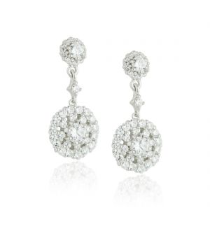 Paul Costello Sterling silver earrings, double crystal cluster drop.