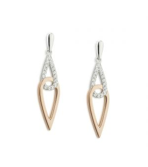 Paul Costello Sterling silver earrings crystal and rose interlocking tear drops