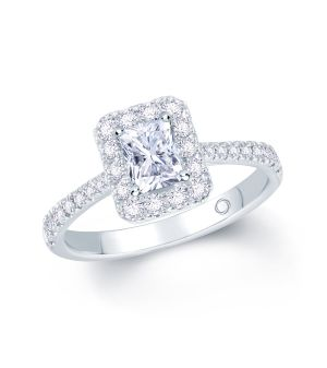 Platinum radiant cut diamond with diamond surround and diamond set shoulder engagement ring