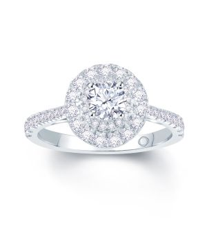 18ct white gold solitaire with diamond surround engagement ring