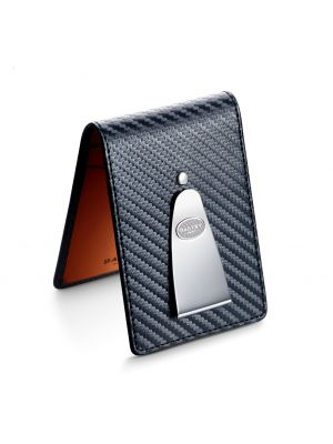 Dalvey gents wallet with vibrant orange & carbon fibre leather