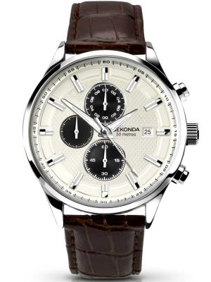 Sekonda Gents Stainless Steel and Brown Leather Strap Watch