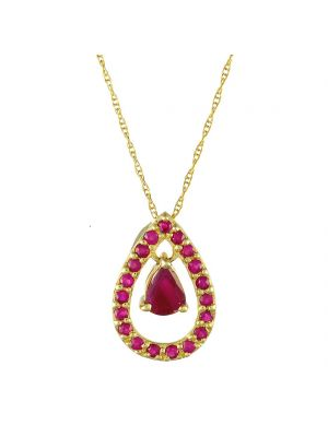 9ct yellow gold pear shape ruby with ruby surround and chain