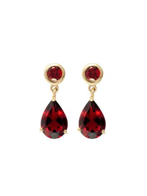 9ct yellow gold garnet pear shape drop earrings