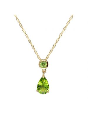 9ct yellow gold peridot pendant and chain