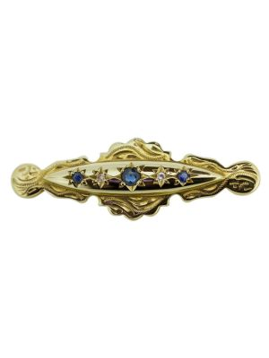 9ct yellow gold sapphire & diamond antique style brooch