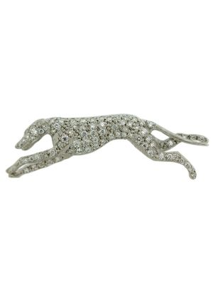 18ct white gold diamond greyhound brooch