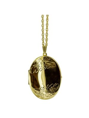 9ct yellow gold oval floral designed locket