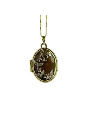 9ct two tone oval shaped locket