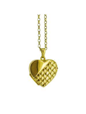 9ct yellow gold heart shaped woven designed locket