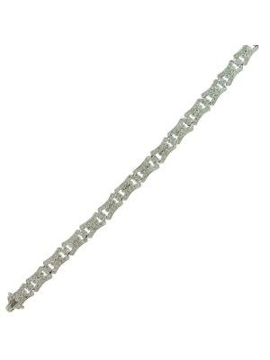18ct white gold antique style diamond millgrain set bracelet