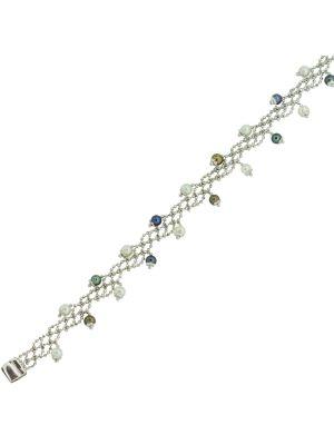 14ct white gold Italian design white & black cultured pearl bracelet