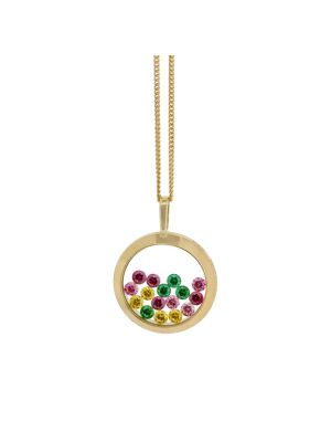 14ct rosegold circular pendant with floating coloured cz stones