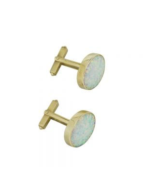 9ct yellow gold opal set cufflinks